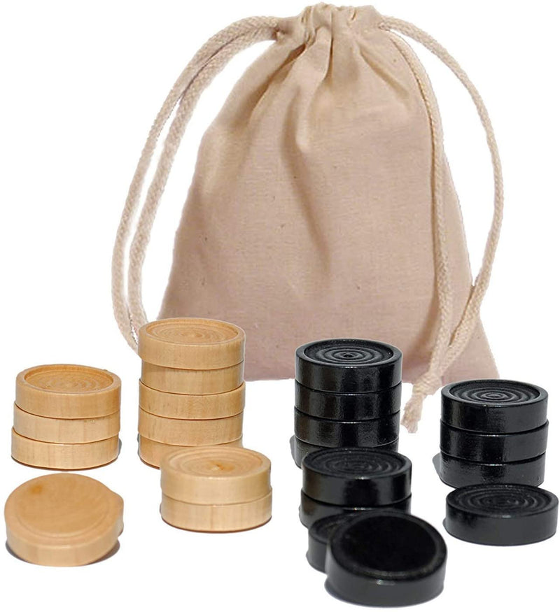 Checkers Pieces in Black and Natural Wood - 1.5 in. diameter