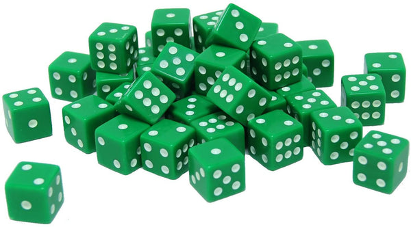 Green Square Cornered Dice - 100 Pack