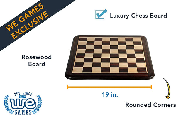 Luxury Chess Board - Rosewood with Rounded Corners 19 in.
