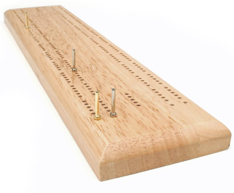 Competition Cribbage Set - Solid Oak Wood Sprint 2 Track Board with Metal Pegs