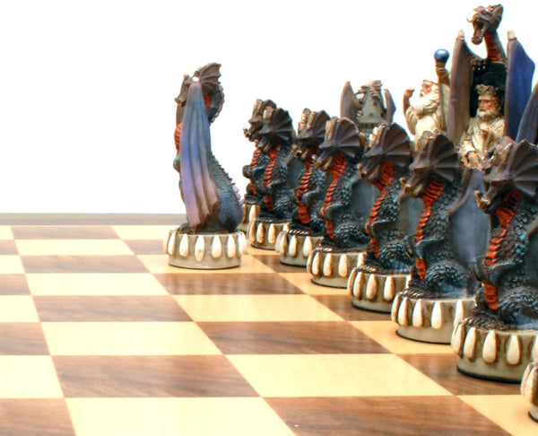 Dragon Chess Set - Handpainted Pieces & Walnut Root Board 21 in.