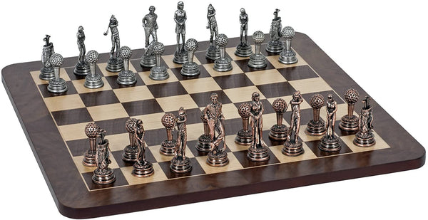 Golf Chess Set - Pewter Pieces & Walnut Root Board 16 in.