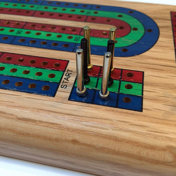 WE Games Classic Cribbage Set - Solid Wood TriColor (Blue, Green, Red) Continuous 3 Track Board with Metal Pegs