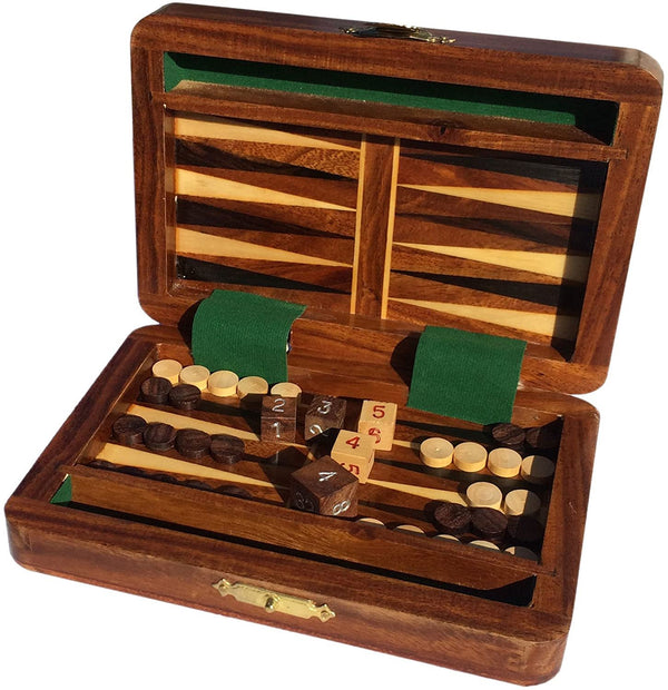 Wood Travel Backgammon Set - 6 Inch
