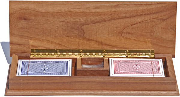 Cabinet Cribbage Set - Solid Walnut Wood with Inlay Sprint 3 Track Board with Metal Pegs & 2 Decks of Cards