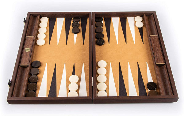 WE Games Luxury Dark Brown Wood Backgammon Set with Leatherette Interior – 19 inches – Handcrafted in Greece
