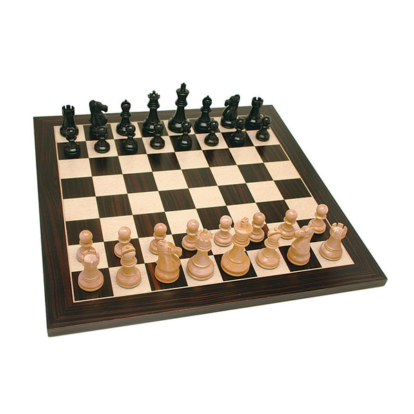 Grand Jacques Style Chess Set - Weighted Pieces & Black Stained Wood Board 19 in.