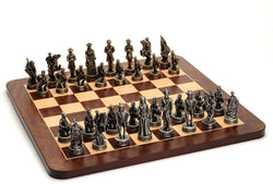 Civil War Chess Set - Pewter Pieces & Walnut Root Board 16 in.
