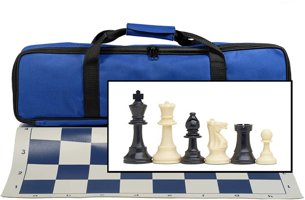 Tournament Chess Set with Electric Blue Bag - 3.75 Inch King Solid Plastic