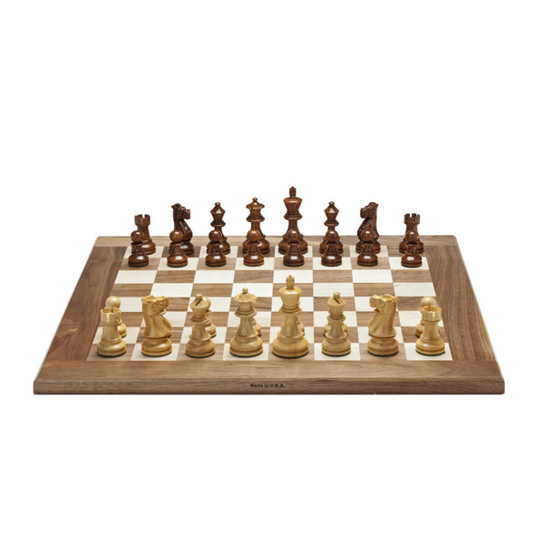 Grand English Chess Set - Weighted Pieces with Solid Maple & Walnut Wood Board 20 in. (Made in USA)