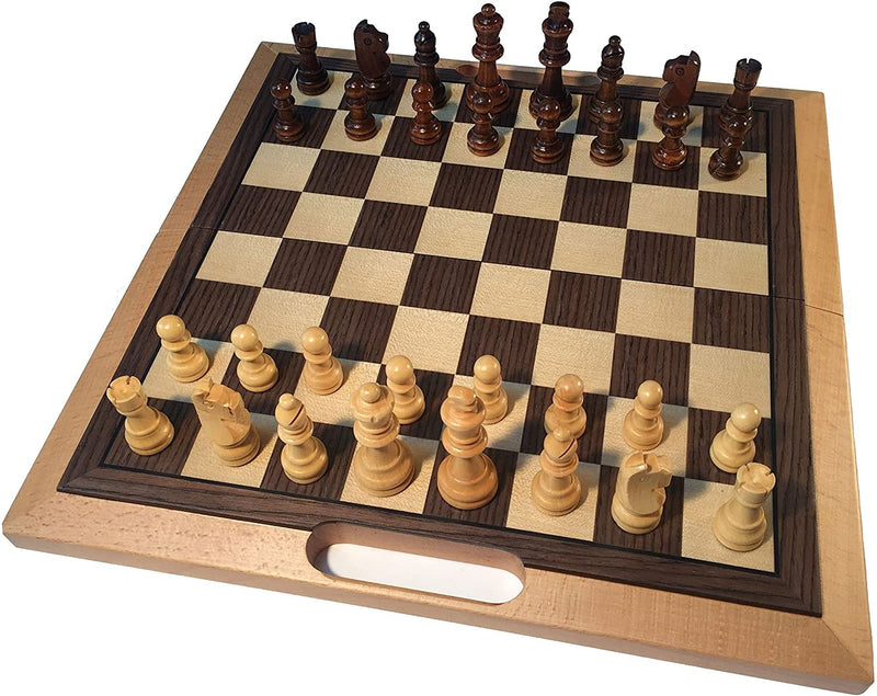 Classic Folding Chess Set with Handle - Wood Board 16 in.