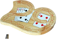 Mini 29 Cribbage Set - Solid Wood 2 Track Board with Metal Pegs