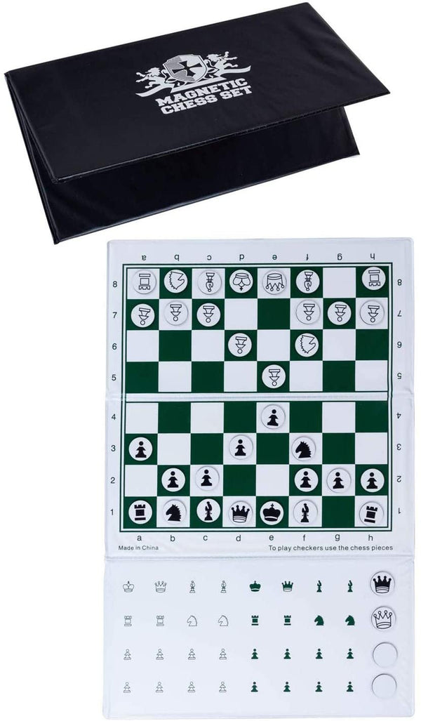 WE Games Supersize Checkbook Magnetic Chess Set, 10 inches