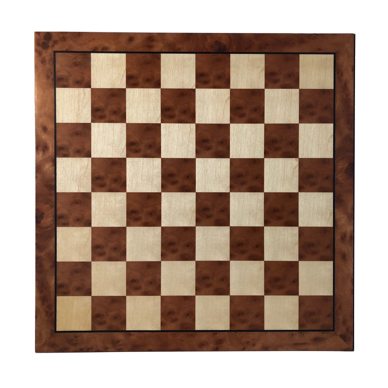 Classic Camphor Burl Look Chess Board with Black Border - 15 inches