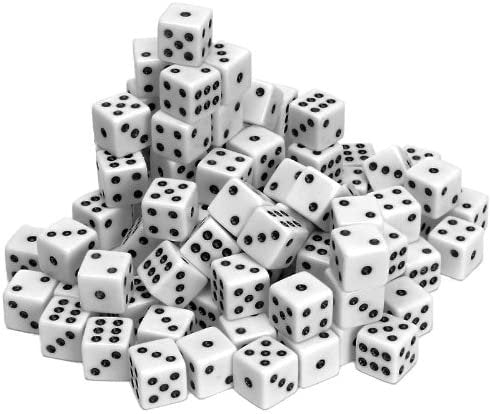 White Opaque Dice - 100 Pack