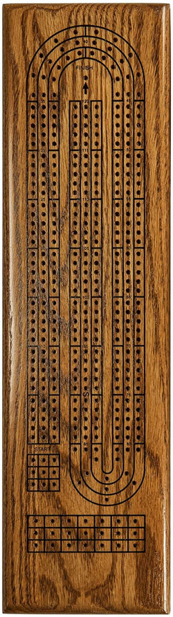 Classic Cribbage Set (Made in USA) - Solid Stained Oak Wood Continuous 3 Track Board with Metal Pegs