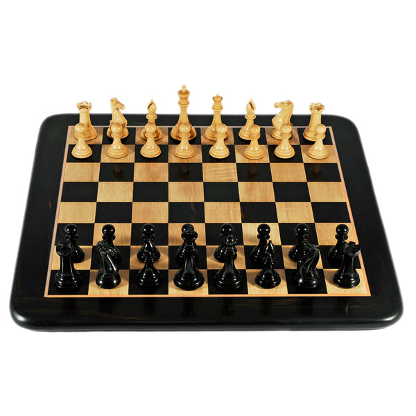 Luxury Staunton Ebony Chess Set - Triple Weighted Pieces with Leather Bottoms & Ebony Wood Board 21 in.