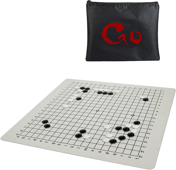 Ultimate Travel Go Set with Full-Size 19.75 inch Silicone GO Board & Convex Stones Made of Premium ABS plastic
