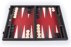 WE Games Luxury Black Wood Backgammon Set with Red, Gray & White Leatherette Interior – 19 inches – Handcrafted in Greece