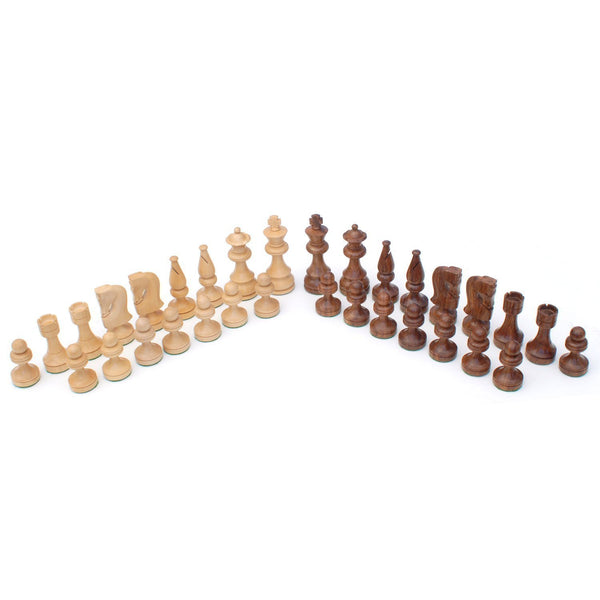 Russian Chessmen - Weighted & Handpolished Wood with 3.5 in. King