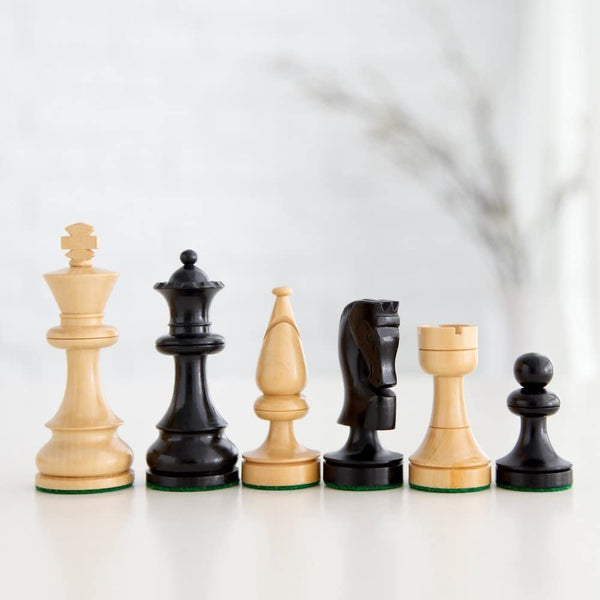 Russian Chessmen - Weighted & Handpolished Black Stained Wood with 4 in. King
