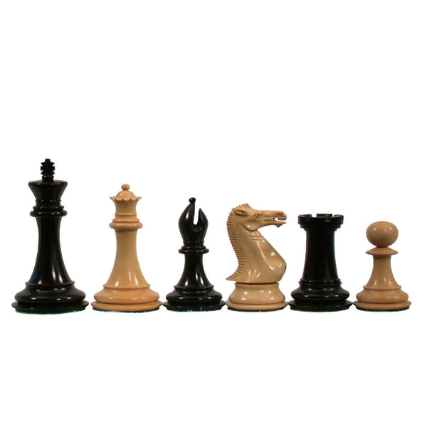 Deluxe Staunton Chessmen - Triple Weighted & Handpolished Black Stained Wood with 4 in. King