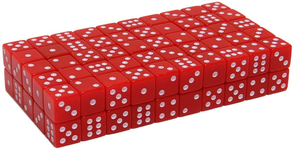 Red Square Cornered Dice - 100 Pack