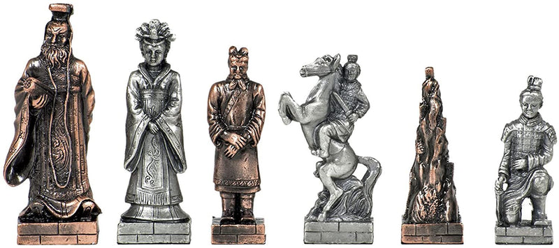 Fantasy Chess Set - Pewter Pieces & Walnut Root Board 16 in.