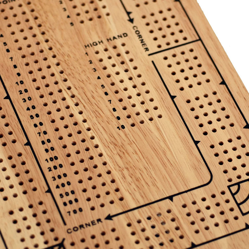 Classic Cribbage Set - Solid Wood Continuous 4 Track Board with Pegs