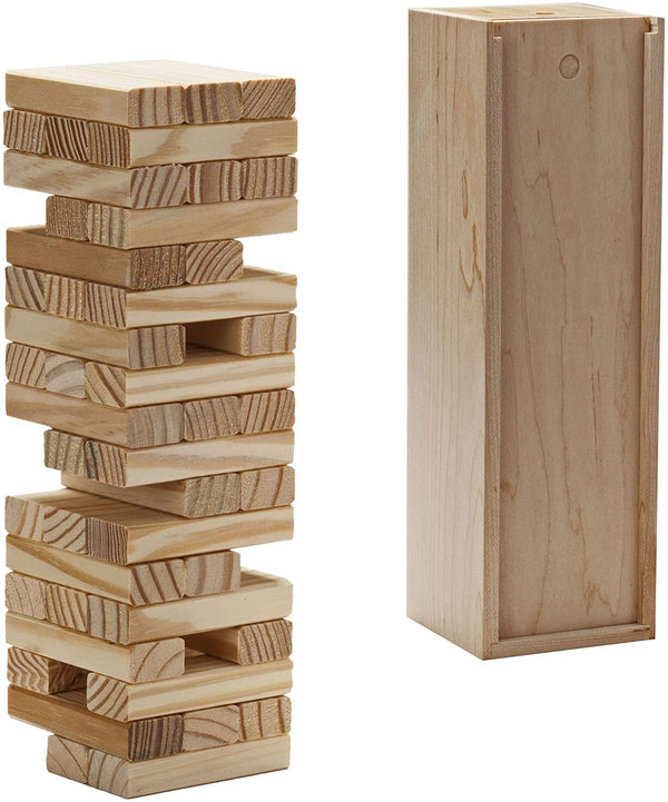 Wood Block Stacking Tower that Tumbles Down When you Play (Made in USA)