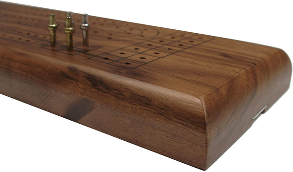 Classic Cribbage Set - Solid Walnut Wood Continuous 2 Track Board with Metal Pegs