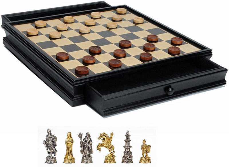 Medieval Chess & Checkers Game Set - Pewter Chessmen & Black Stained Wood Board with Storage Drawers 15 in.