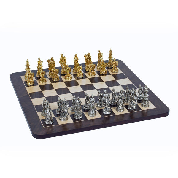 Medieval Chess Set - Pewter Pieces & Walnut Root Board 16 in.