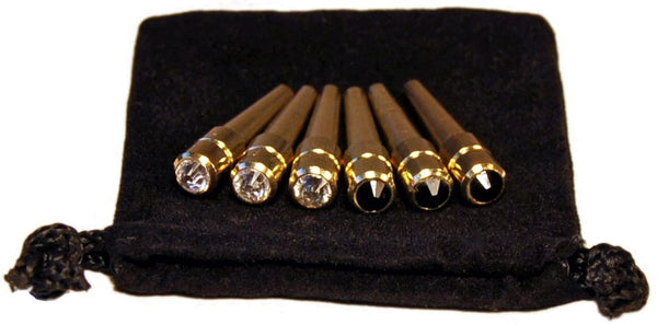 WE Games Brass Cribbage Pegs with Swarovski Austrian Crystals & Velvet Pouch - Set of 6 (3 Black, 3 Clear)