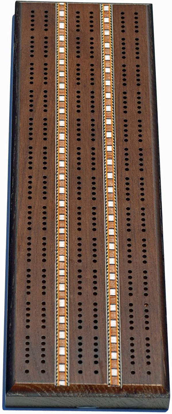 Classic Cribbage Set - Solid Oak Dark-Stained Wood with Inlay Sprint 3 Track Board with Metal Pegs