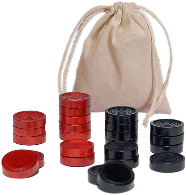 Checkers Pieces in Black and Red Wood - 1.5 in. diameter