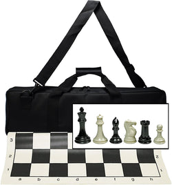Ultimate Tournament Chess Set with New Silicone Chess Mat, Canvas Bag and Super Triple Weighted Chessmen with 4 Inch King