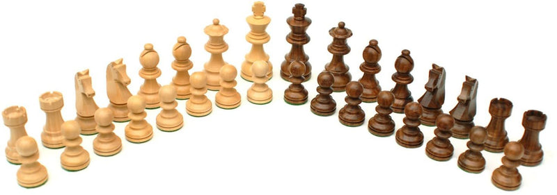 French Staunton Chess Set -  Weighted Pieces & Walnut Wood Board 14.75 in.