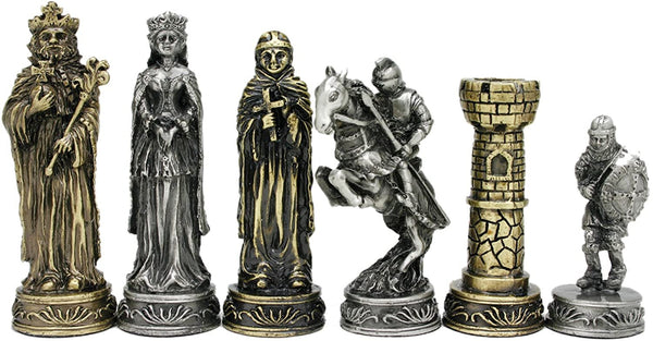 Medieval Chess Set - Pewter Pieces & Walnut Root Board 17 in.