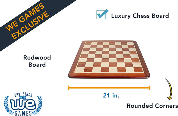 Luxury Chess Board - Redwood with Rounded Corners 21 in.