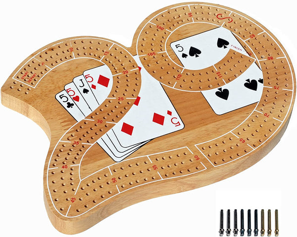 Classic 29 Cribbage Set - Solid Wood 3 Track Board with Pegs