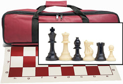 Tournament Chess Set with Burgundy Bag - 3.75 Inch King Solid Plastic