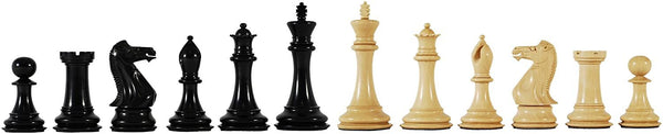 Luxury Staunton Chessmen - Triple Weighted & Handpolished Ebony Wood with Leather Bottoms with 4 in. King
