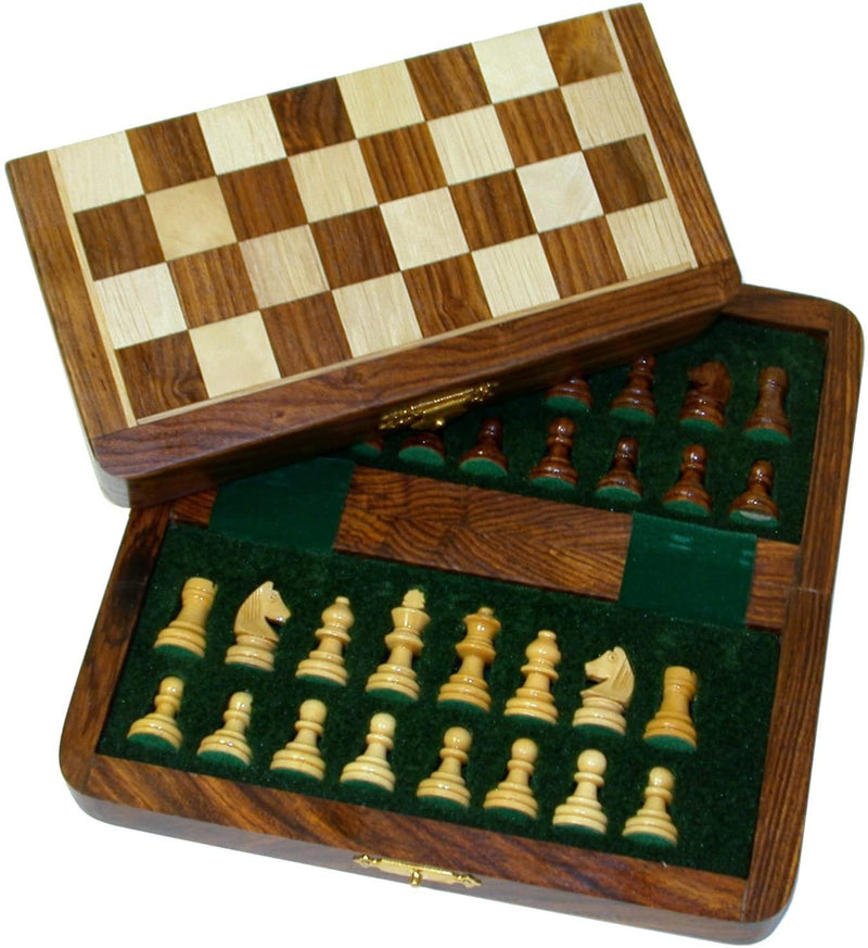 7 Inch Wood Magnetic Folding Chess Set