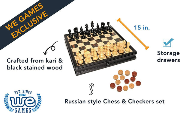 Russian Style Chess & Checkers Game Set - Weighted Chessmen & Black Stained Wood Board with Storage Drawers 15 in.