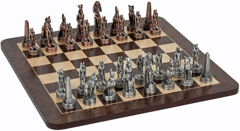 Egyptian Chess Set - Pewter Pieces & Walnut Root Board 16 in.