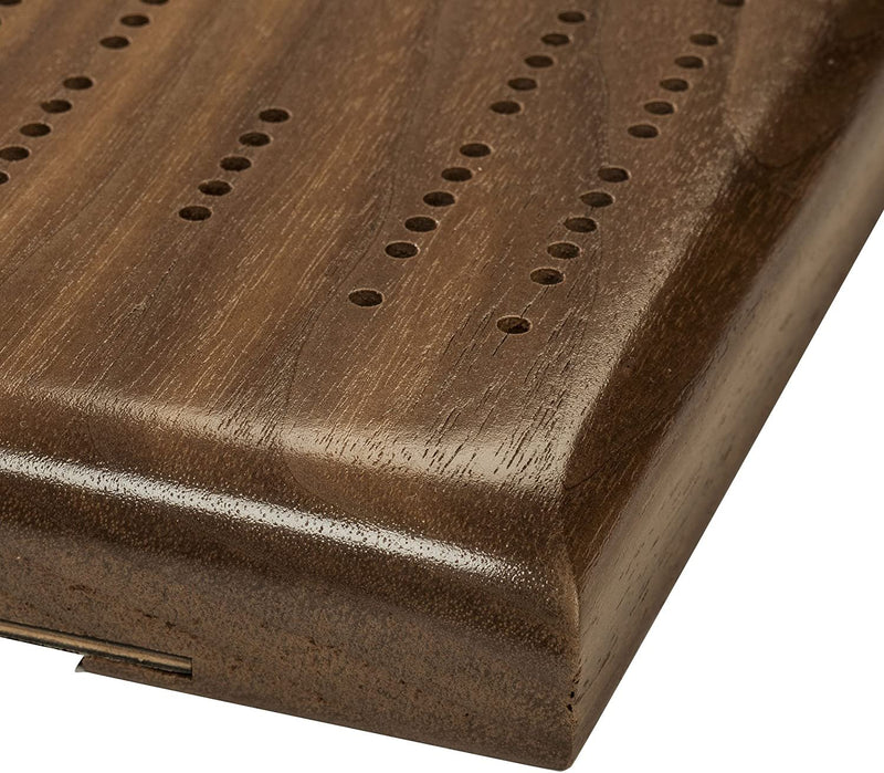 Competition Cribbage Set (Made in USA) - Solid Walnut Wood Sprint 2 Track Board with Metal Pegs