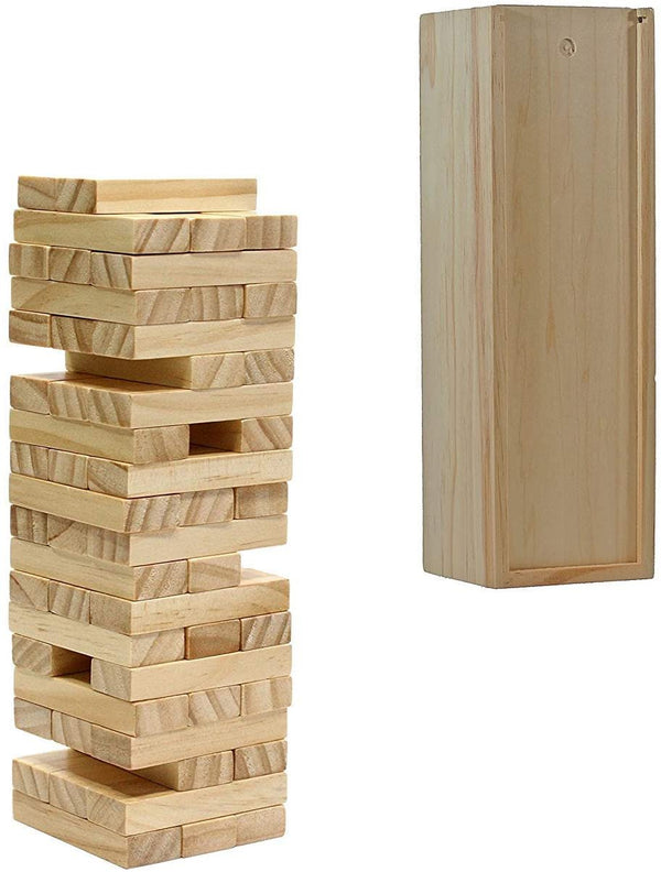 Wood Block Stacking Tower that Tumbles Down When you Play (12 Inch when Packaged)