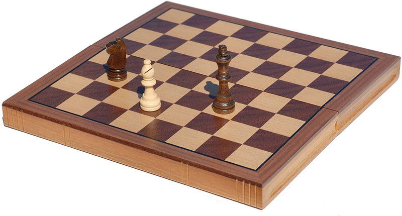 Book Style Folding Chess Set - Oak Wood Board 11 in.