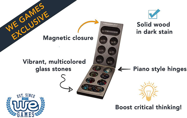 Folding Mancala Game - Solid Dark Stained Wood & Glass Stones